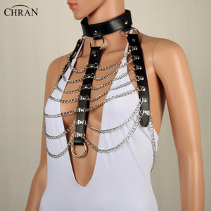Chran Leather Harness Shoulder Necklace - Strange Things Emporium