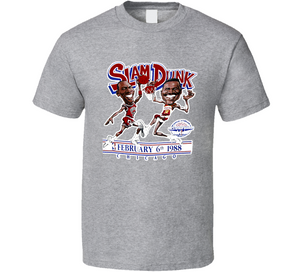 Wilkins vs Jordan Dunk Contest Basketball Caricature T Shirt - Blazintees.com