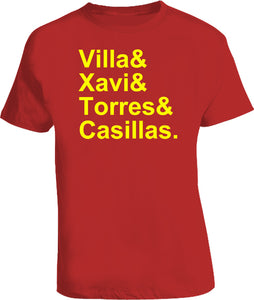 Spain 2010 Villa Xavi Torres Casillas Soccer Legends T Shirt - Blazintees.com