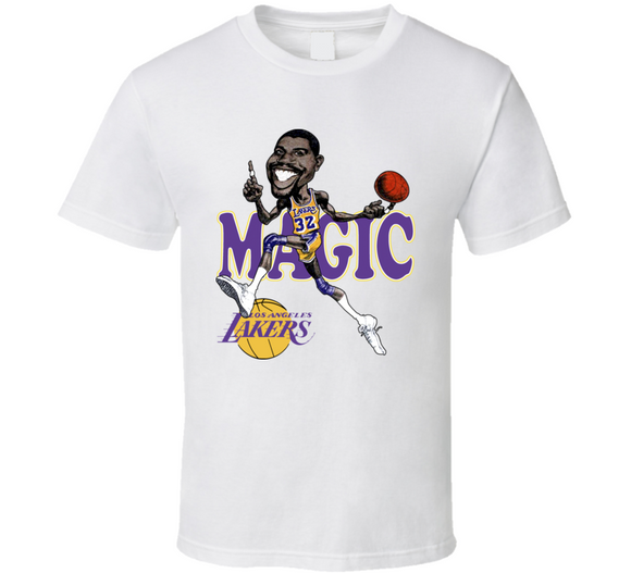 Earvin Magic Johnson Los Angeles Basketball Caricature T Shirt - Blazintees.com
