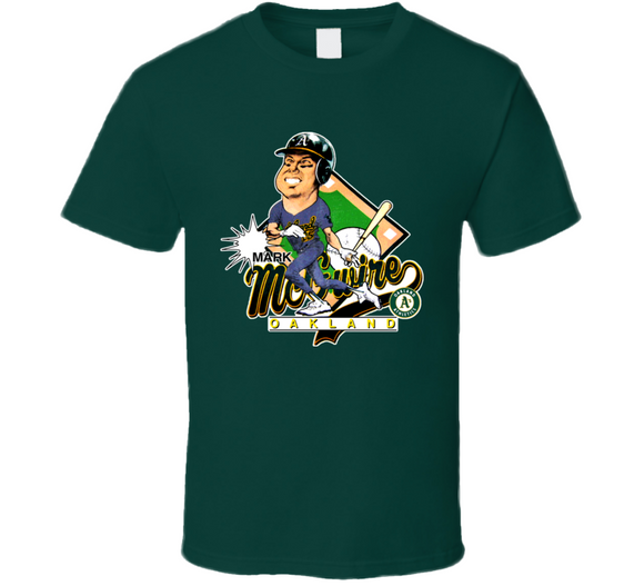 Mark McGwire Oakland Baseball Caricature T Shirt - Blazintees.com