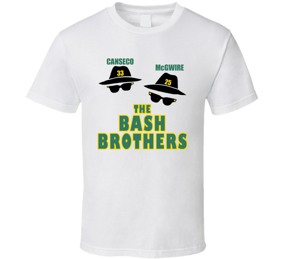 Jose Canseco Mark McGwire Bash Brothers Oakland Baseball T Shirt - Blazintees.com