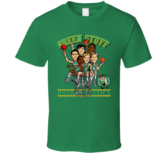 Larry Bird Green Stuff Boston Basketball Caricature T Shirt - Blazintees.com