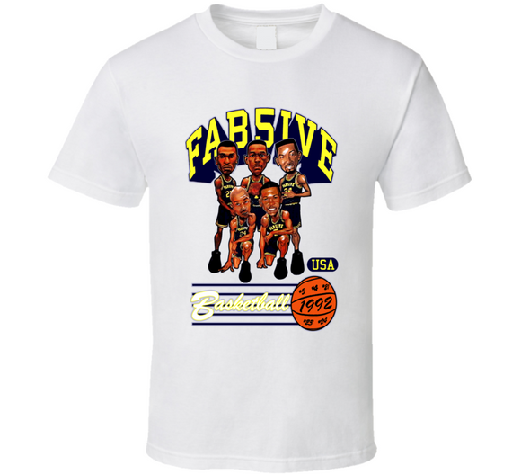 Fab Five Michigan Caricature Basketball T Shirt - Blazintees.com