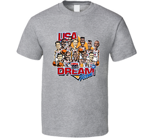 USA Dream Team Retro Basketball Caricature T Shirt - Blazintees.com
