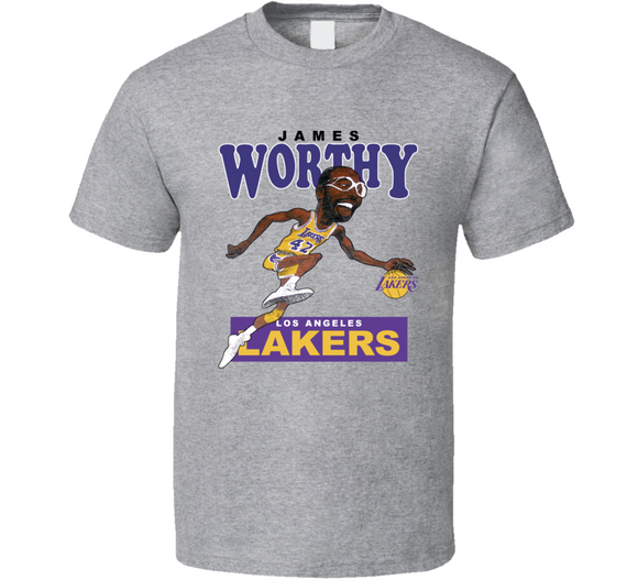 James Worthy Los Angeles Basketball Caricature T Shirt - Blazintees.com