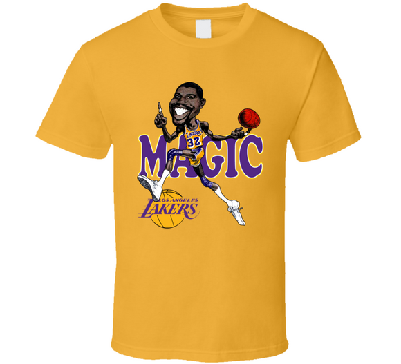Magic Johnson Los Angeles Basketball Caricature T Shirt - Blazintees.com