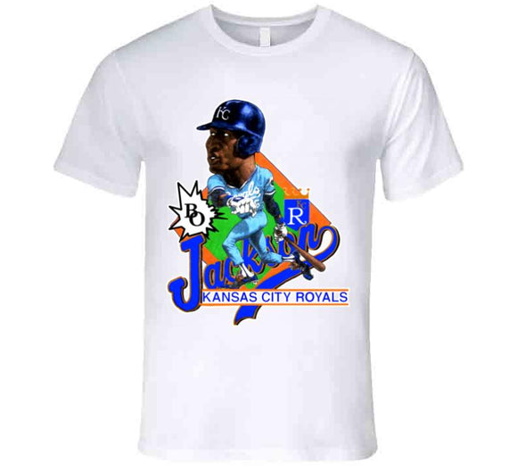 Bo Jackson Kansas City Retro Baseball Caricature T Shirt - Blazintees.com