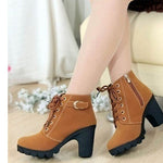WOMAN'S BOOTS  -  High Quality Solid Lace-up European Ladies Fashion Boots