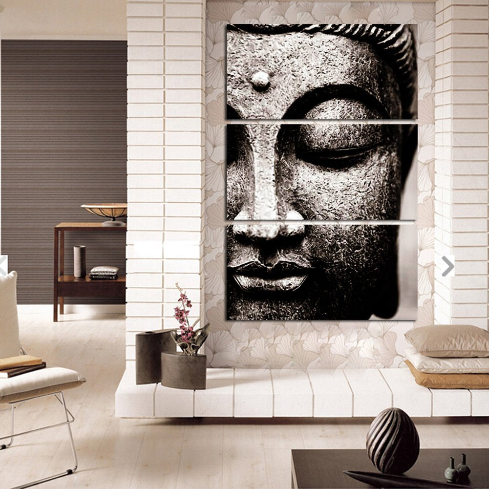 PAINTINGS  -   Frameless Gray 3 Panel Modern Large Oil Style Buddha On Canvas