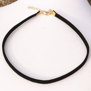 NECKLACES  -  Black Velvet Suede Leather Gothic Choker