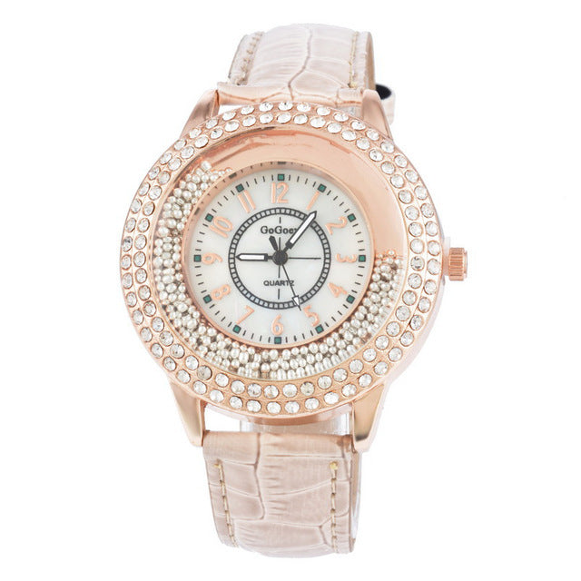 WOMAN'S WATCHES -  Luxury Leather Crystal Stone Watch