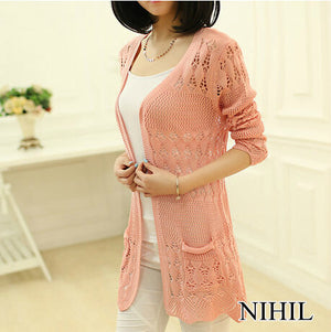 SWEATERS - Pink Cardigans Plus Size Long Sleeve V-Neck Knitted Sweaters