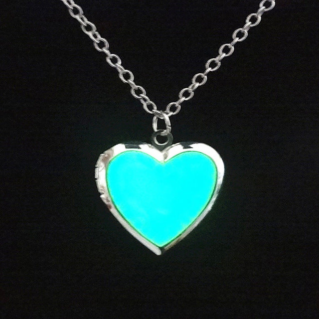 NECKLACES  -   Heart Glow in the Dark Stone Necklaces; Silver Plated Long Chain