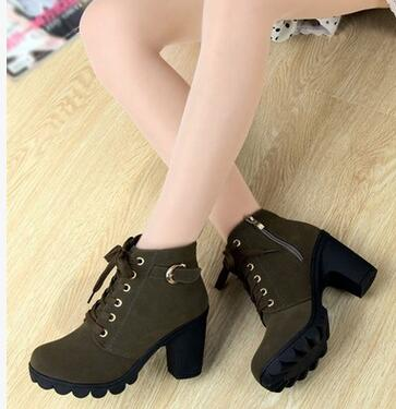 WOMAN'S BOOTS  -  High Quality Solid Lace-up European Ladies Leather Fashion Boots