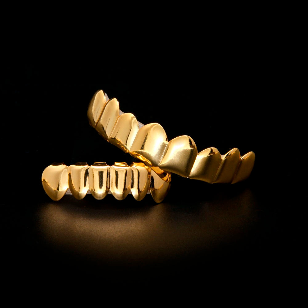 GRILLS  -  Gold Finish Grill Set; Eight 8 Top Teeth & Six 6 Bottom Tooth; Halloween Gift