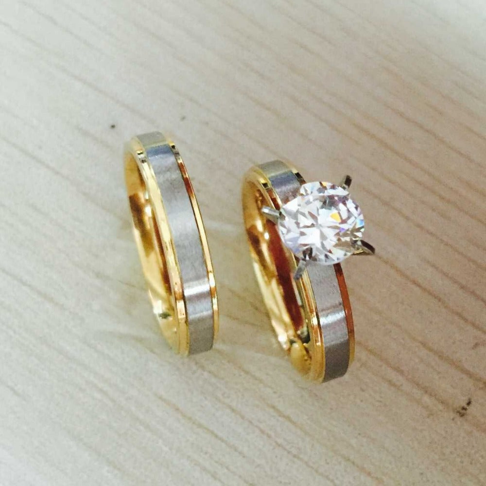 JEWELRY - 4mm Titanium Steel CZ Rhinestone; 2 Tone Gold and Silver