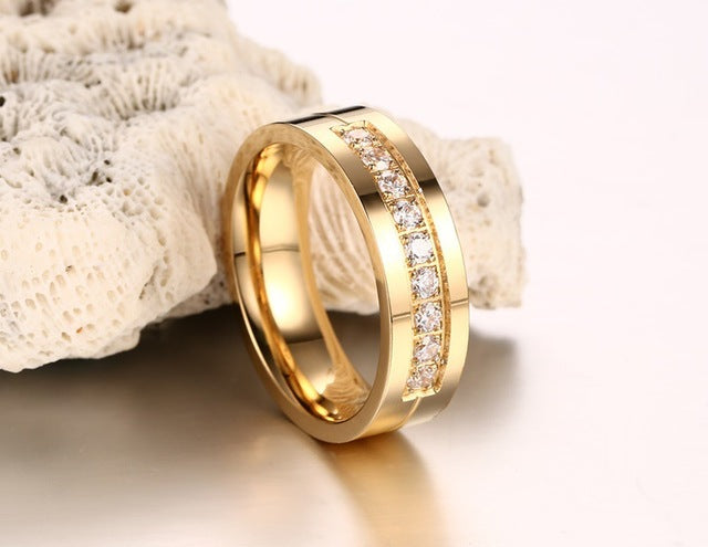 JEWELRY - 6MM Stainless Steel Wedding Ring For Lovers IP Gold Color Crystal CZ