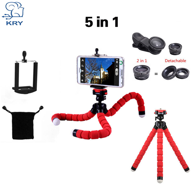 SMART PHONE CAMERA LENSES - 5in1 Tripod Fisheye Lentes 3in1 lenses for iPhone 6 7