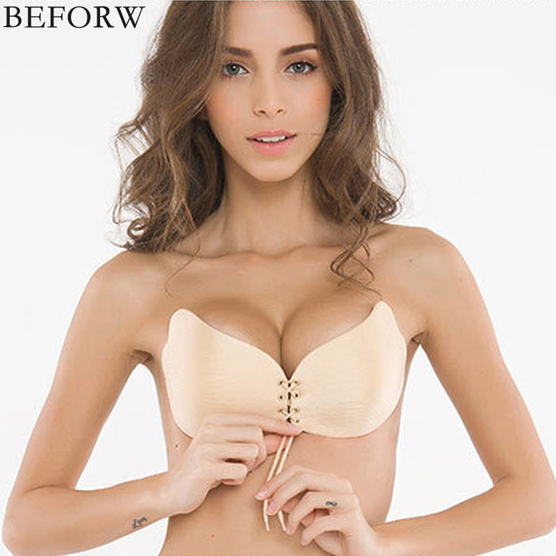 BRAS -  Women Invisible Bra Super Push Up Bra Seamless Self-Adhesive Sticky Bra Wedding Party Front Strapless A B C D Cup Fly Bra