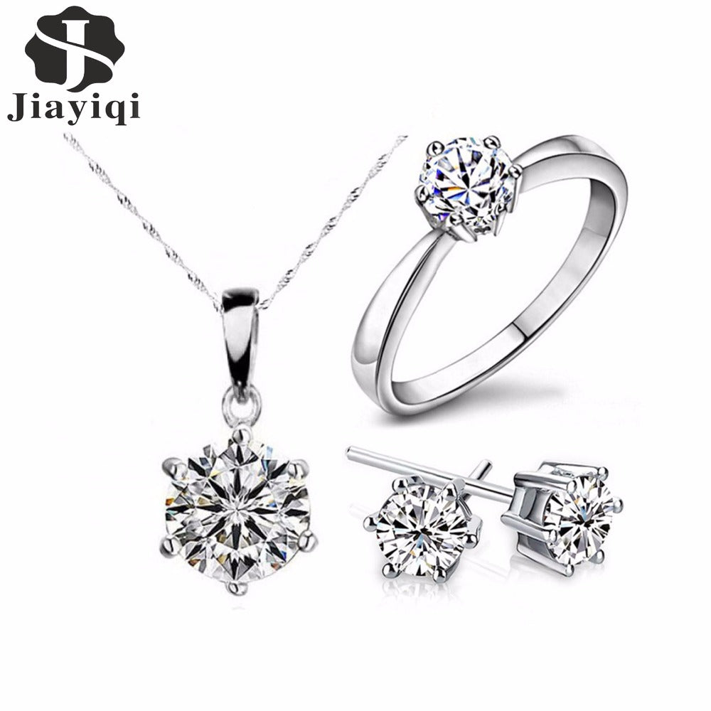 JEWELRY SETS  -   Silver Fashion Jewelry Set:  Cubic Zircon Necklace & Earrings and Ring