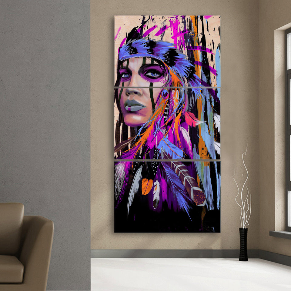 PAINTINGS  -   3PCS American Indian Canvas Feathered Painting