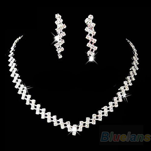 JEWELRY SETS  -   Crystal Rhinestone Diamante Necklace & Earring Set