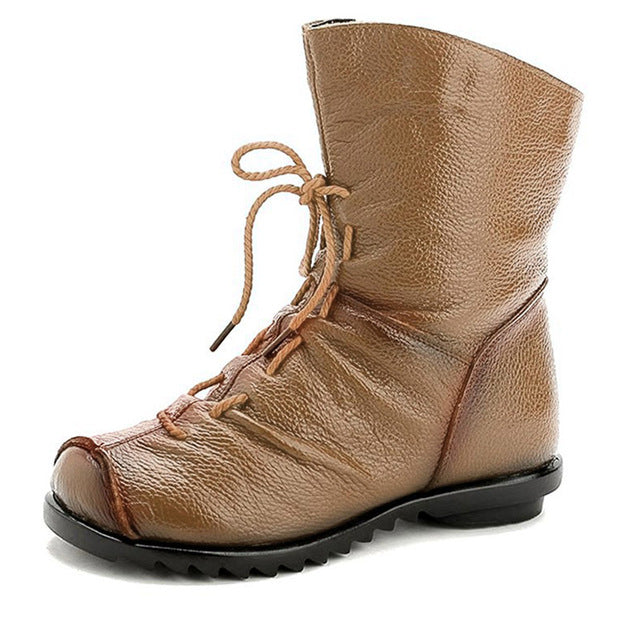 WOMAN'S BOOTS  -  Vintage Genuine Leather Platform Ankle Boots