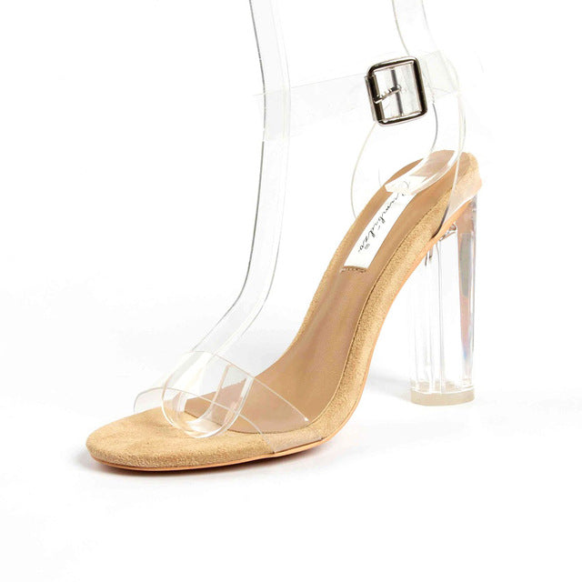 WOMAN'S HIGH HEELS  -  Open Toe Transparent High Heels
