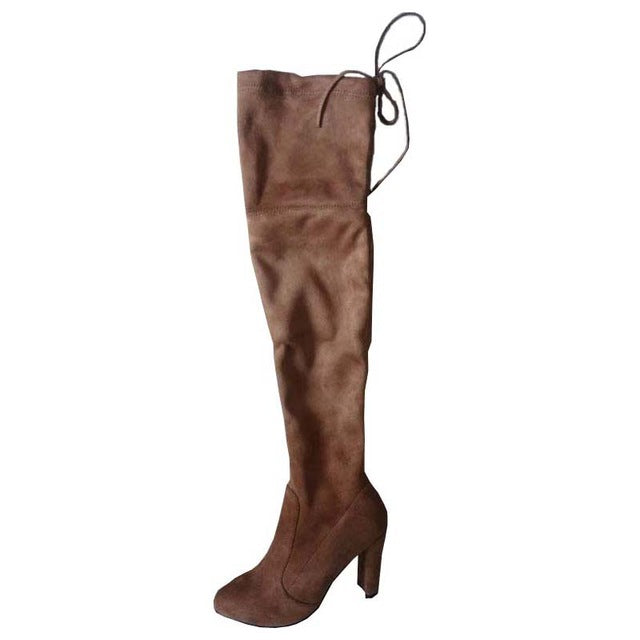 WOMAN'S BOOTS  -  Slim Suede Over-The-Knee Snow Boots