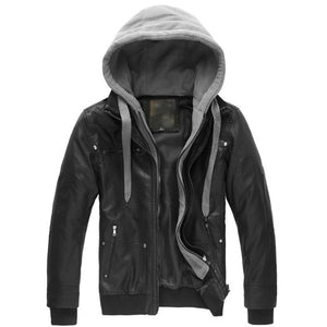 JACKET - LEATHER -  Polar Fleece w/Detachable Hood Motorcycle Jacket