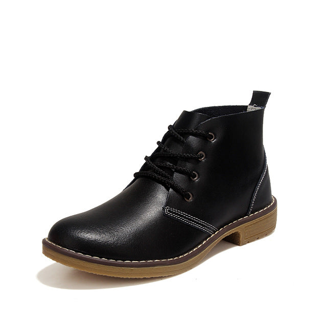 WOMAN'S BOOTS  -  Genuine Leather Motorcycle Ankle Boots