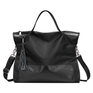 BAGS -  Large Shoulder Nylon+Leather Patchwork Handbag