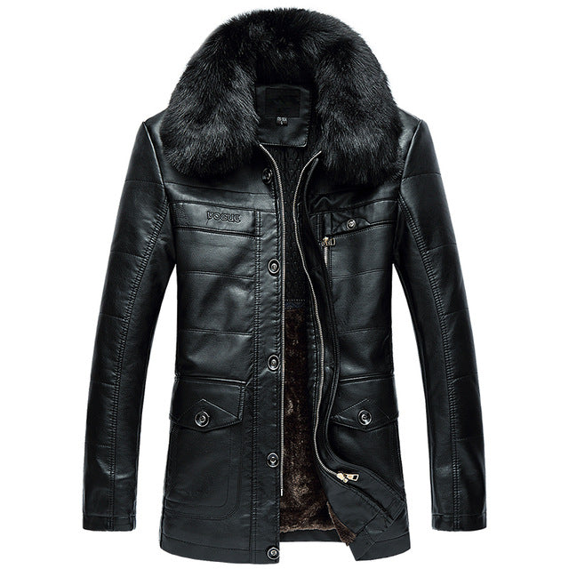 JACKET - LEATHER -  Long Fur Collar Winter Jacket