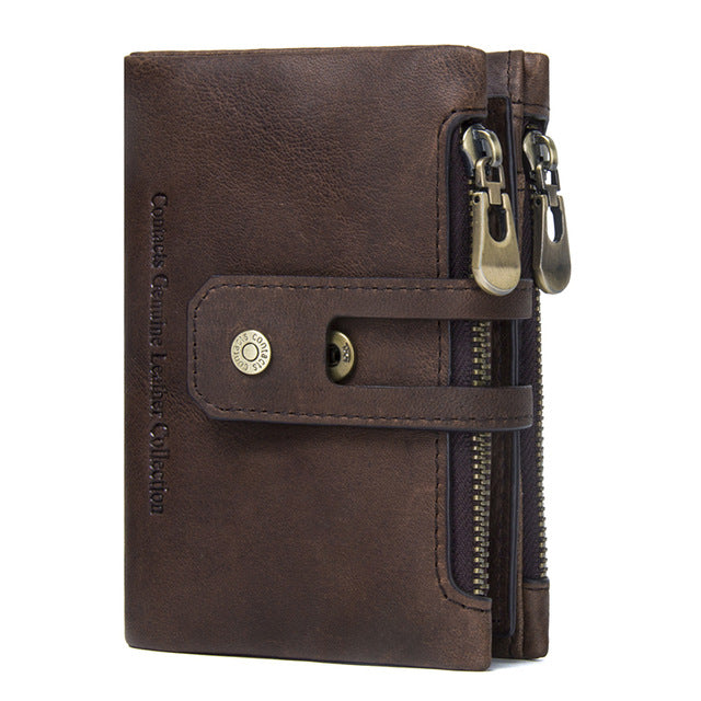 MENS WALLET - Genuine Leather Men's Wallet w/Zipper and Hasp