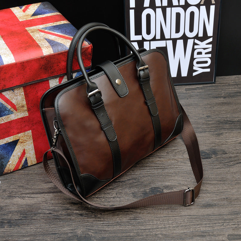 BRIEFCASE & BAGS - Retro Vintage Soft Leather; Solid Single Shoulder Briefcase