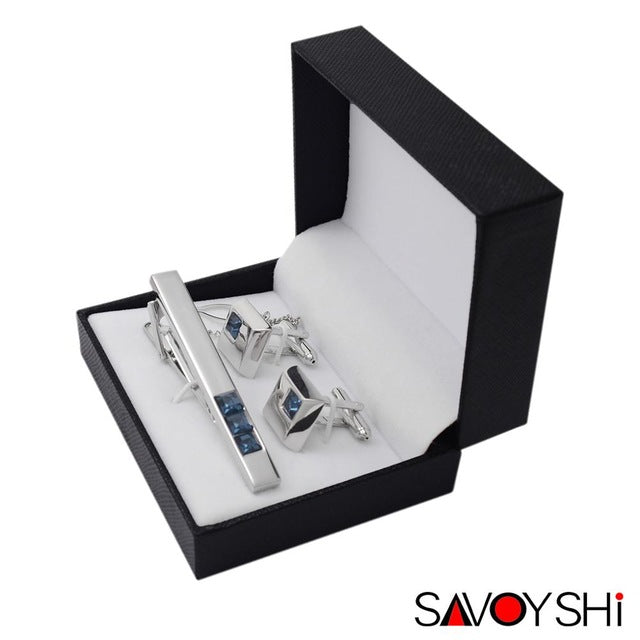CUFFLINKS & TIE CLIPS - Blue Crystal Cufflinks and Tie Clips