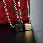 JEWELRY - Titanium Steel Square Pendant Couple Necklace
