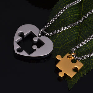 JEWELRY -  Heart-shape Stainless Steel Couples Puzzle