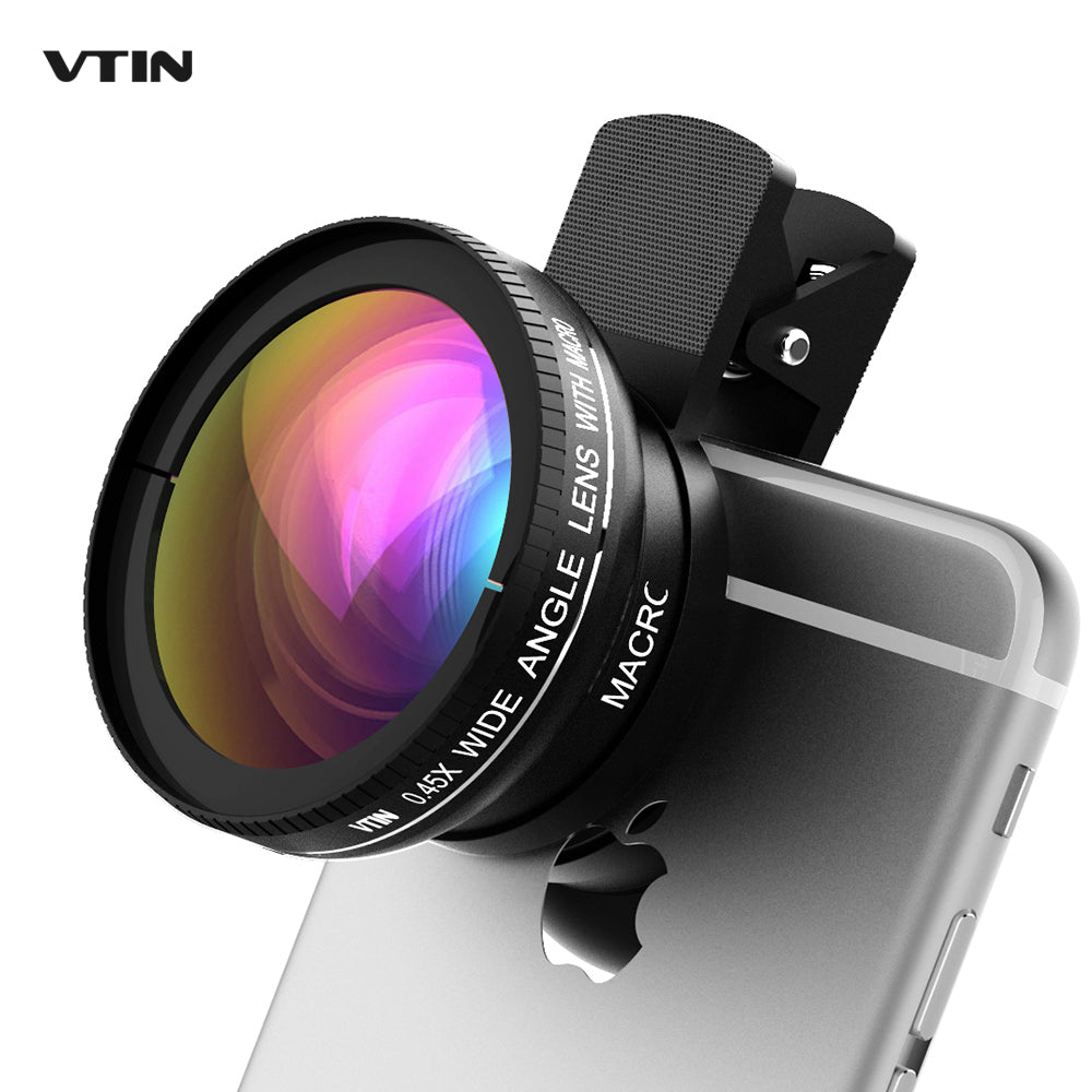 SMART PHONE CAMERA LENSES - Universal Professional HD Phone Camera Lens Kit 0.45x Super Wide Angle Lens + 10x Super Macro Lens + 37mm Thread Clip