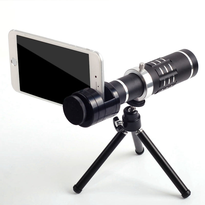SMART PHONE CAMERA LENSES - Portable 18X Monocular Telescope Clip On Telephoto Lens + Tripod
