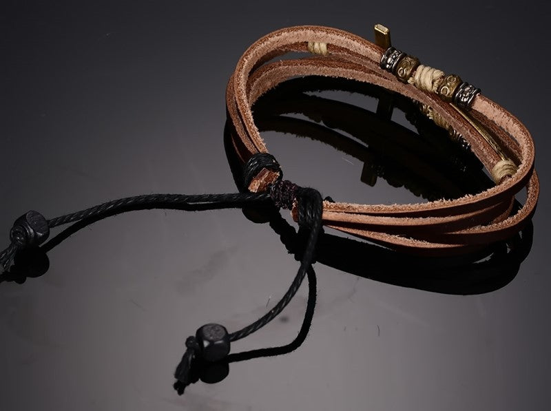BRACELETS  -  Christian; Leather Cross Bracelets & Bangles