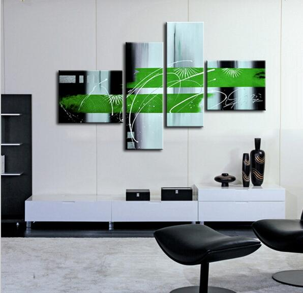 PAINTINGS  -  Modern Group Painting on 4 Panels; Green, Black & White; Handpainted Abstract