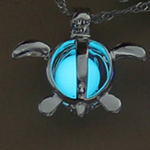NECKLACES  -  Vintage Silver Glow-in-the-Dark Turtle Pendant Necklace; 3 Different Colors