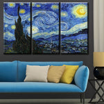 PAINTINGS  -  3PCS Canvas No Frame Starry Night Wall Painting; Vincent Willem Van Gogh