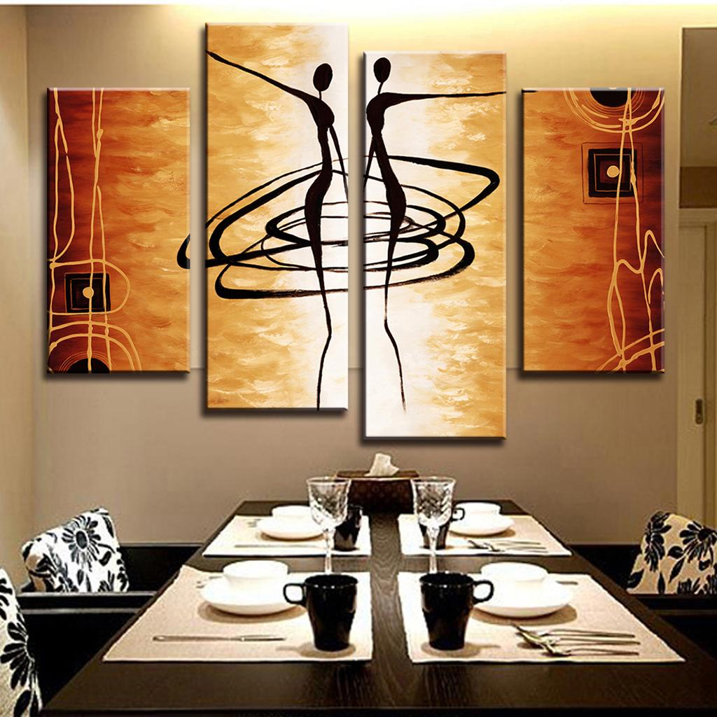 PAINTINGS  -  4 PCS Modern Abstract Canvas Painting; Dance Lover Figures