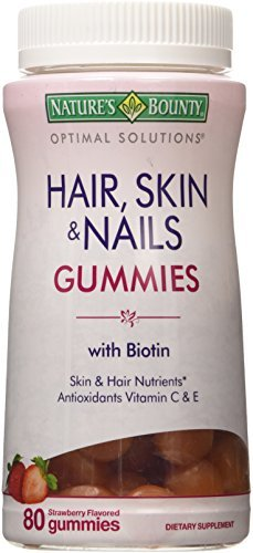 Nature's Bounty Optimal Solutions Hair, Skin & Nails Strawberry Flavored Gummies 80 EA - Buy Packs and SAVE (Pack of 5)