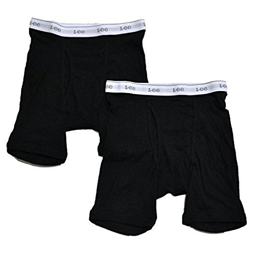 Lee Men's Boxer Briefs Tag Free Underwear 100% Cotton Pack of 2 (Medium, Black)