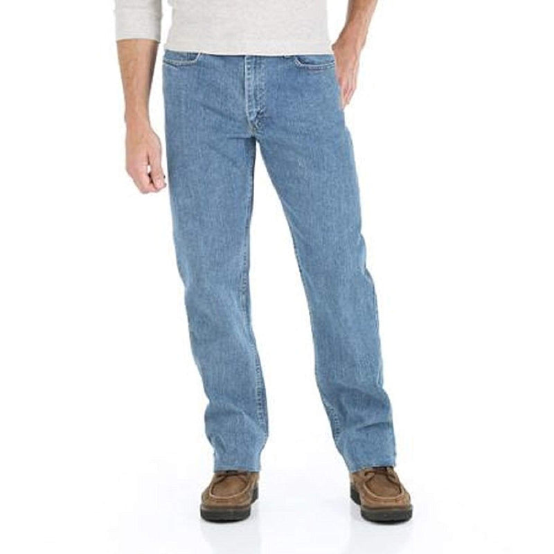 Wrangler Men's Advanced Comfort Relaxed Fit Jeans (44x30, Mid Stonewash)
