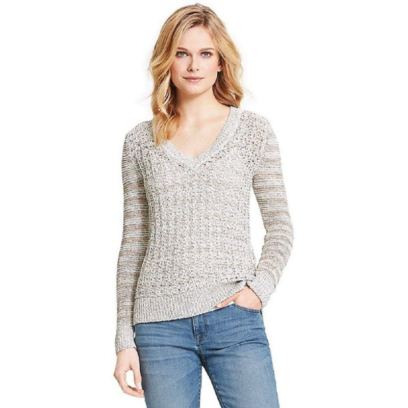 Tommy Women's Open Stitch V-Neck Sweater - Size XL (XL, CLOUD DANCER/MASTERS NAVY)